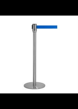 Avspärrningsstolpe - Krom med blått band