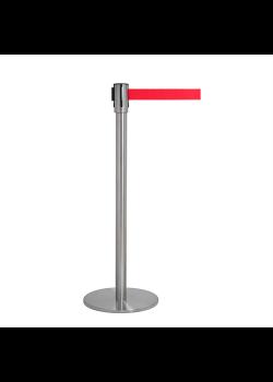 Avspärrningsstolpe - Krom med rött band