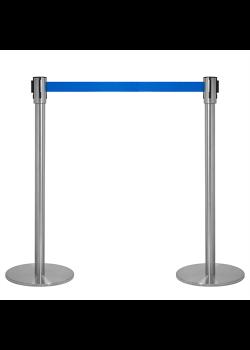 Avspärrningsstolpar - Krom med blått band