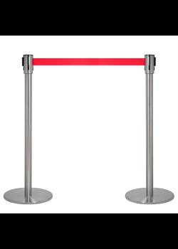 Avspärrningsstolpar - Krom med rött band